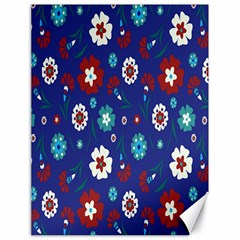 Flower Floral Flowering Leaf Blue Red Green Canvas 18  x 24