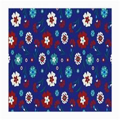 Flower Floral Flowering Leaf Blue Red Green Medium Glasses Cloth (2-Side)