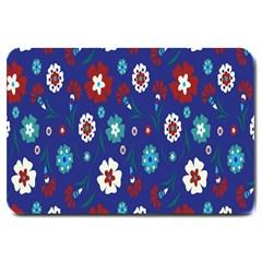 Flower Floral Flowering Leaf Blue Red Green Large Doormat