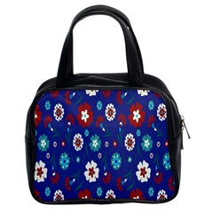 Flower Floral Flowering Leaf Blue Red Green Classic Handbags (2 Sides)
