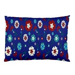 Flower Floral Flowering Leaf Blue Red Green Pillow Case