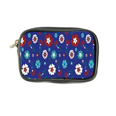 Flower Floral Flowering Leaf Blue Red Green Coin Purse