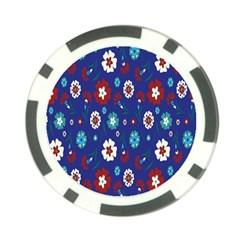 Flower Floral Flowering Leaf Blue Red Green Poker Chip Card Guard (10 pack)
