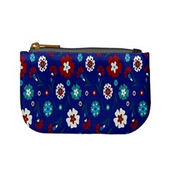 Flower Floral Flowering Leaf Blue Red Green Mini Coin Purses