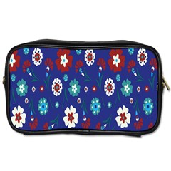 Flower Floral Flowering Leaf Blue Red Green Toiletries Bags 2-Side