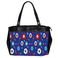 Flower Floral Flowering Leaf Blue Red Green Office Handbags (2 Sides)