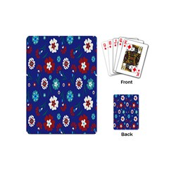 Flower Floral Flowering Leaf Blue Red Green Playing Cards (Mini)