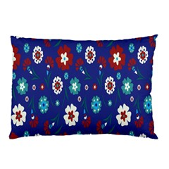 Flower Floral Flowering Leaf Blue Red Green Pillow Case (Two Sides)