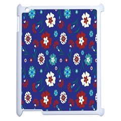 Flower Floral Flowering Leaf Blue Red Green Apple iPad 2 Case (White)