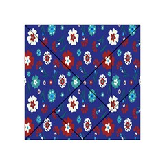 Flower Floral Flowering Leaf Blue Red Green Acrylic Tangram Puzzle (4  x 4 )