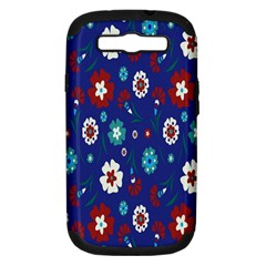 Flower Floral Flowering Leaf Blue Red Green Samsung Galaxy S III Hardshell Case (PC+Silicone)