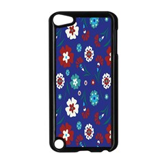 Flower Floral Flowering Leaf Blue Red Green Apple iPod Touch 5 Case (Black)