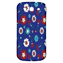Flower Floral Flowering Leaf Blue Red Green Samsung Galaxy S3 S III Classic Hardshell Back Case