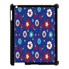 Flower Floral Flowering Leaf Blue Red Green Apple iPad 3/4 Case (Black)