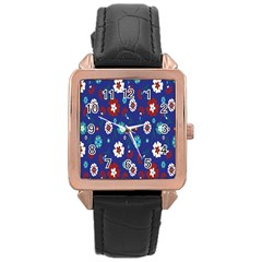 Flower Floral Flowering Leaf Blue Red Green Rose Gold Leather Watch