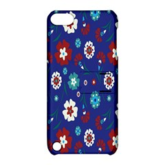 Flower Floral Flowering Leaf Blue Red Green Apple iPod Touch 5 Hardshell Case with Stand