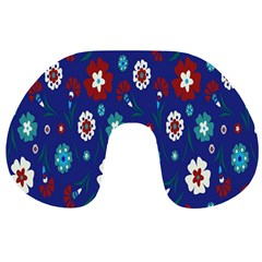 Flower Floral Flowering Leaf Blue Red Green Travel Neck Pillows
