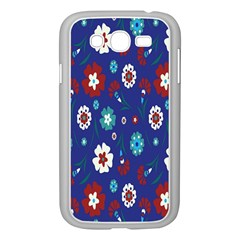 Flower Floral Flowering Leaf Blue Red Green Samsung Galaxy Grand DUOS I9082 Case (White)