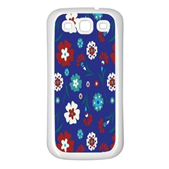 Flower Floral Flowering Leaf Blue Red Green Samsung Galaxy S3 Back Case (White)