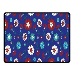 Flower Floral Flowering Leaf Blue Red Green Double Sided Fleece Blanket (Small)