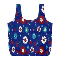 Flower Floral Flowering Leaf Blue Red Green Full Print Recycle Bags (L)
