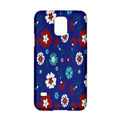 Flower Floral Flowering Leaf Blue Red Green Samsung Galaxy S5 Hardshell Case