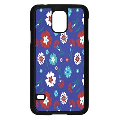 Flower Floral Flowering Leaf Blue Red Green Samsung Galaxy S5 Case (Black)