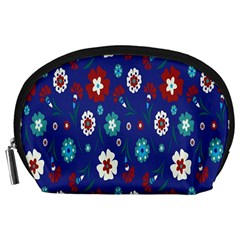 Flower Floral Flowering Leaf Blue Red Green Accessory Pouches (Large)