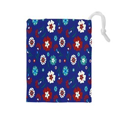 Flower Floral Flowering Leaf Blue Red Green Drawstring Pouches (Large)