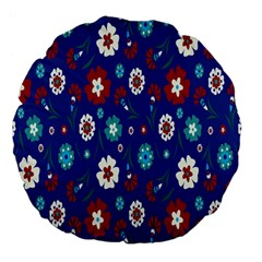 Flower Floral Flowering Leaf Blue Red Green Large 18  Premium Flano Round Cushions