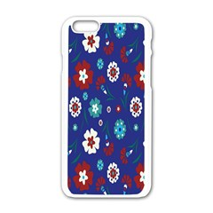 Flower Floral Flowering Leaf Blue Red Green Apple iPhone 6/6S White Enamel Case