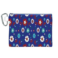 Flower Floral Flowering Leaf Blue Red Green Canvas Cosmetic Bag (XL)