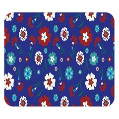 Flower Floral Flowering Leaf Blue Red Green Double Sided Flano Blanket (Small)