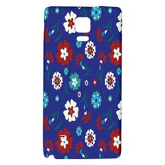 Flower Floral Flowering Leaf Blue Red Green Galaxy Note 4 Back Case