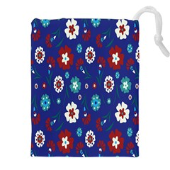 Flower Floral Flowering Leaf Blue Red Green Drawstring Pouches (XXL)