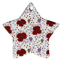 Flower Floral Rose Leaf Red Purple Ornament (Star)
