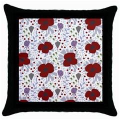 Flower Floral Rose Leaf Red Purple Throw Pillow Case (Black)