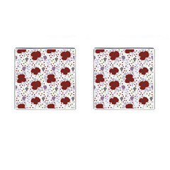 Flower Floral Rose Leaf Red Purple Cufflinks (Square)