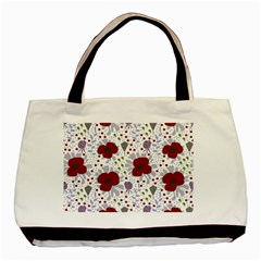 Flower Floral Rose Leaf Red Purple Basic Tote Bag (Two Sides)