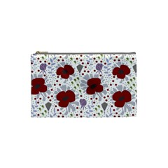 Flower Floral Rose Leaf Red Purple Cosmetic Bag (Small)