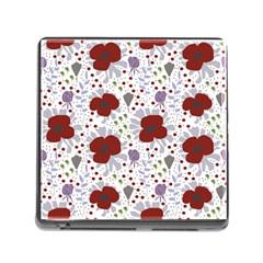 Flower Floral Rose Leaf Red Purple Memory Card Reader (Square)