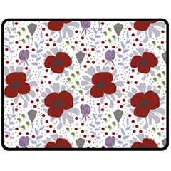 Flower Floral Rose Leaf Red Purple Fleece Blanket (Medium)