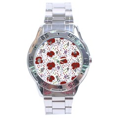 Flower Floral Rose Leaf Red Purple Stainless Steel Analogue Watch