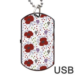 Flower Floral Rose Leaf Red Purple Dog Tag USB Flash (Two Sides)