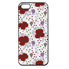 Flower Floral Rose Leaf Red Purple Apple iPhone 5 Seamless Case (Black)