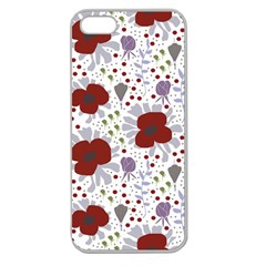 Flower Floral Rose Leaf Red Purple Apple Seamless iPhone 5 Case (Clear)
