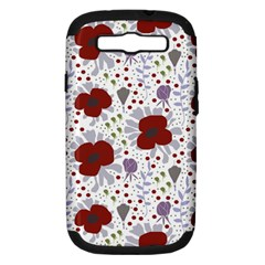 Flower Floral Rose Leaf Red Purple Samsung Galaxy S III Hardshell Case (PC+Silicone)