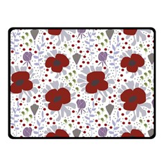 Flower Floral Rose Leaf Red Purple Double Sided Fleece Blanket (small)