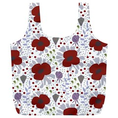 Flower Floral Rose Leaf Red Purple Full Print Recycle Bags (L)