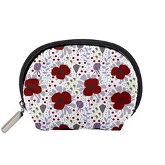 Flower Floral Rose Leaf Red Purple Accessory Pouches (Small)
